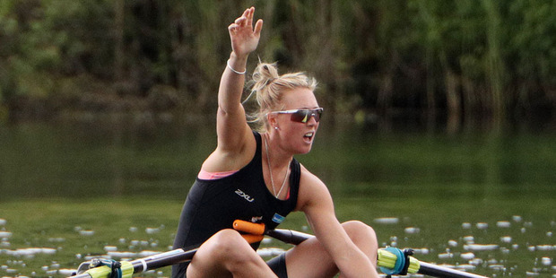 Emma Twigg has protested the conditions the crews were forced to race in on the opening day of rowing at the Rio 2016 Olympics. Photo / Getty Images.