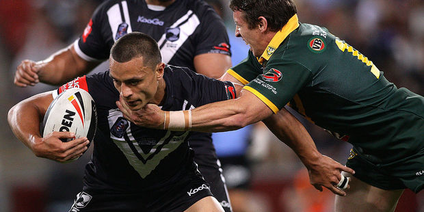 Sam Perrett in action for the Kiwis. Photo / Getty Images