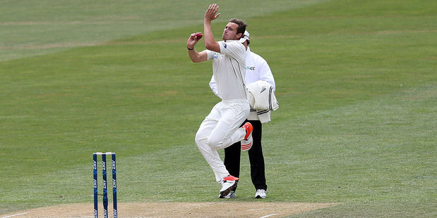 Tim Southee claimed a wicket early on day three. Photo / Getty