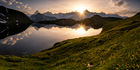 Sunset at Lacs de Fenetre in Valais, Switzerland. Photo / Getty Images