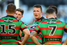Sam Burgess talks to the Rabbitohs against the Canberra Raiders. Photo / Getty Images