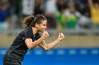 Amber Hearn celebrates her goal during the game against Colombia. Photo/Getty Images