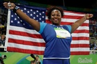 United States' Michelle Carter celebrates winning the gold medal in the women's shot put. Photo / AP
