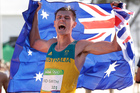 Dane Bird-Smith, of Australia, celebrates his bronze medal performance in the Mens 20 K race walk at the 2016 Summer Olympics. Photo / AP
