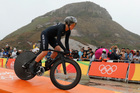New Zealand's Linda Villumsen has finished sixth in tough conditions in the women's individual time trial event at the Rio Olympics. Photo / AP