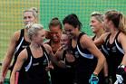 The women's Black Sticks celebrate scoring a goal against Spain. Photo / AP