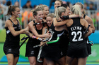 The Black Sticks celebrate after scoring their goal against the Netherlands. Photo / AP