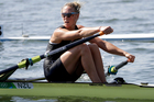 Emma Twigg is rowing for gold overnight. Photo / AP