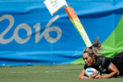Huriana Manuel scores try during the New Zealand women's sevens side's 26-7 defeat of France in group play at the Rio Olympics. Photo / AP