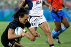 Portia Woodman scores New Zealand's only try in their 5-0 quarter-final win over the USA at the 2016 Rio Olympics this morning. Photo / AP