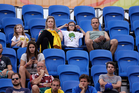 A swathe of empty seats as Rafael Nadal plays Federico Delbonis in Rio. Photo / AP