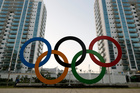 The Olympic rings are displayed in the Olympic Village in Rio de Janeiro. Photo / AP