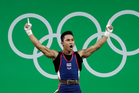 Thailand's Sinphet Kruithong's grandmother passed away before being able to see him win a weightlifting bronze medal at the Rio Olympics. Photo / AP