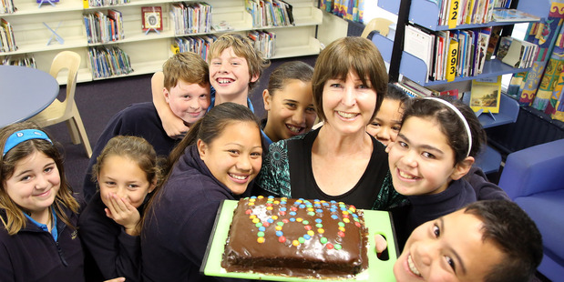 Castlecliff School librarian Nina Miller with her student librarians. PHOTO/STUART MUNRO