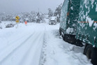 Two trucks were trapped on the Napier-Taupo Rd over the weekend. Photo / Rebecca Hodgetts