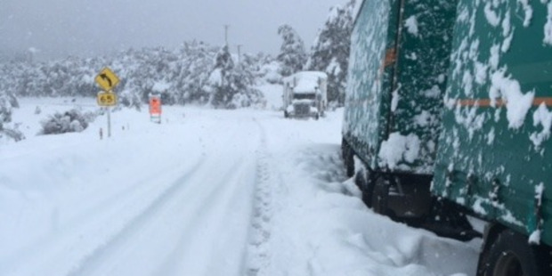 Loading Two trucks were trapped on the Napier-Taupo Rd over the weekend. Photo / Rebecca Hodgetts