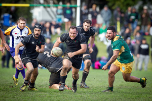 Rangataua's Alex Jessop has his eye on the prize as he makes a run for it in the Baywide rugby final against Mount Maunganui. Photo/Andrew Warner