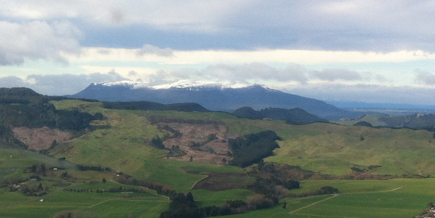 BayTrust rescue helicopter pilot Barry Vincent took this photo of snow on Mt Tarawera yesterday.