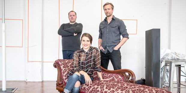 Director Shane Boshier (left) with actors Morgana O'Reilly and Craig Hall. Photo / Michael Craig