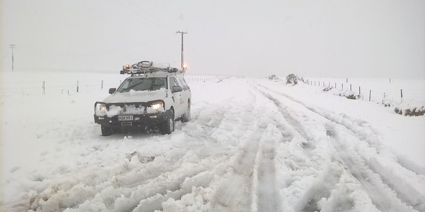 Heavy snowfalls across central North Island has created havoc with the power grid - here power line in the Taupo Plains district have been affected. Photo / Supplied