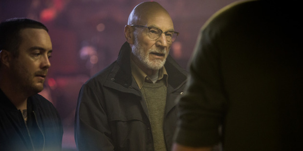 Patrick Stewart is certainly follicly qualified as skinhead leader Darcy in the film Green Room.