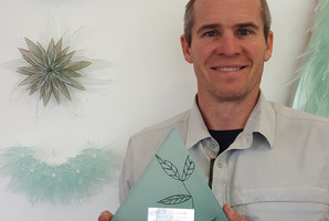 ARTISTIC BEAUTY: Jimi Walsh with the exquisite new award for South Taranaki Youth to Work.