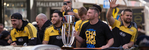 Hurricanes players on their float during their victory Parade in Wellington. Photo / Mark Mitchell