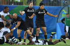 KEY MOMENT: New Zealand's Tim Mikkelson, centre, and Rieko Ioane, right, appeal Ioane's yellow card in the quarterfinal loss to Fiji. PHOTO/photosport 110816sp22BOP