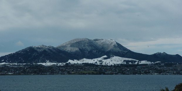 Loading Mt Tauhara was blanketed in snow after the storm last Saturday. Photo: Laurilee McMichael