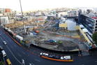 Aerial view of the NZ International Convention Centre construction site in central Auckland.