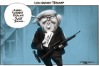 Drumpf jokingly suggests that Clinton should be shot. Illustration / Rod Emmerson