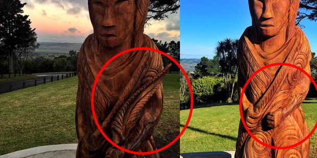 John Henry Longson says he had noticed the fern on the carving was not attached well and was not surprised to see it had gone. Photo / Supplied via facebook