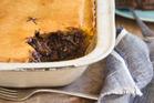 Beef bacon and mushroom pie. Photo / Bite magazine