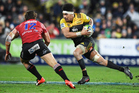 Ardie Savea on the attack against the Lions at Westpac Stadium. Photo / Photosport