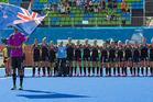 New Zealand line up for the anthem before the Black Sticks hockey match against Korea, Deodoro Stadium. Photo / Photosport