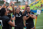 New Zealand's womens sevens rugby team wave to the crowd after the win over Great Britain the semis final match, Rio Olympics Games. Photo / Photosport.nz