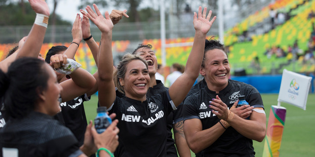 Loading New Zealand's womens sevens rugby team wave to the crowd after the win over Great Britain the semis final match, Rio Olympics Games. Photo / Photosport.nz