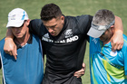 New Zealand's Sonny Bill Williams is carried from the field injured. Photo / photosport.nz
