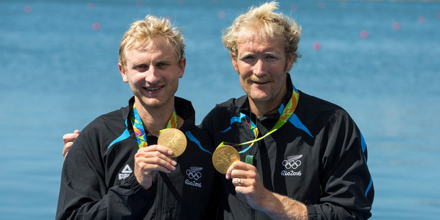 New Zealand's Hamish Bond and Eric Murray win gold in the men's pairs, Olympic Rowing at the Rio Olympics Games 2016. Photo / Photosport