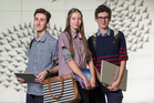 Flynn Dawson, Meike Van Roij and Angus Lynch of Hobsonville Point Secondary School. Photo / Greg Bowker