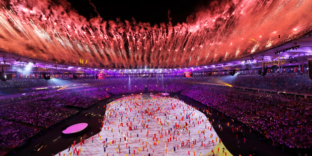 Fireworks are seen over Maracana Stadium during the opening ceremony at the 2016 Summer Olympics in Rio de Janeiro. Photo / AP