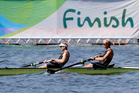 Eric Murray and Hamish Bond will be hoping to finish in front in the men's pair final. Photo / AP