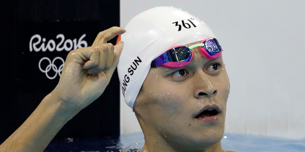 China's Sun Yang reacts after a a men's 400-meter freestyle heat during the swimming competitions at the 2016 Summer Olympics. Photo / AP.