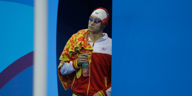 China's Sun Yang arrives for the final of the men's 400-meter freestyle during the swimming competitions at the 2016 Summer Olympics. Photo / AP.