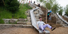 There's no age limit at Slide Hill on Governors Island, says Leslie Koch, president of the trust overseeing the island's redevelopment: 'Adults are invited to play, not just children.' Photo / AP