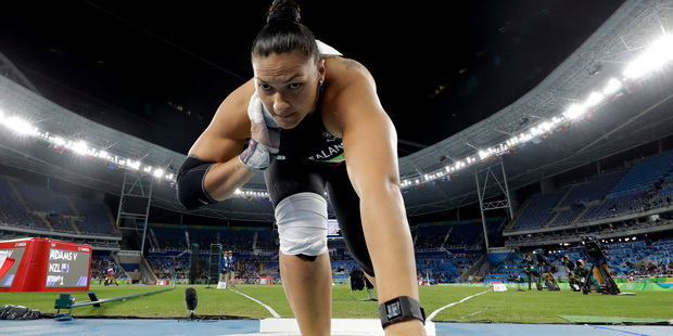 New Zealand's Valerie Adams competes in the final of the women's shot put. Photo / AP