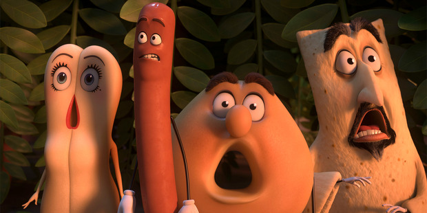 A scene from Sausage Party, starring Seth Rogen voicing Frank.