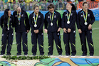 Silver medallists New Zealand during the medal ceremony for women's rugby sevens. Photo / AP