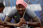 Justin Gatlin celebrates his win in the men's 200-meter run at the U.S. Olympic Track and Field Trials. Photo / AP.