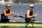 Eric Murray and Hamish Bond, compete in the men's rowing pair semifinal. Photo / AP